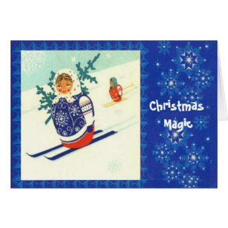 Christmas magic, Vintage Matryosha on skis Card