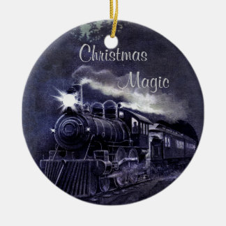 Christmas Magic Vintage Train Ceramic Ornament