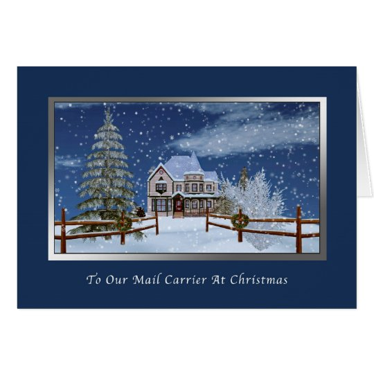 Christmas, Mail Carrier, Snowy Winter Scene Card