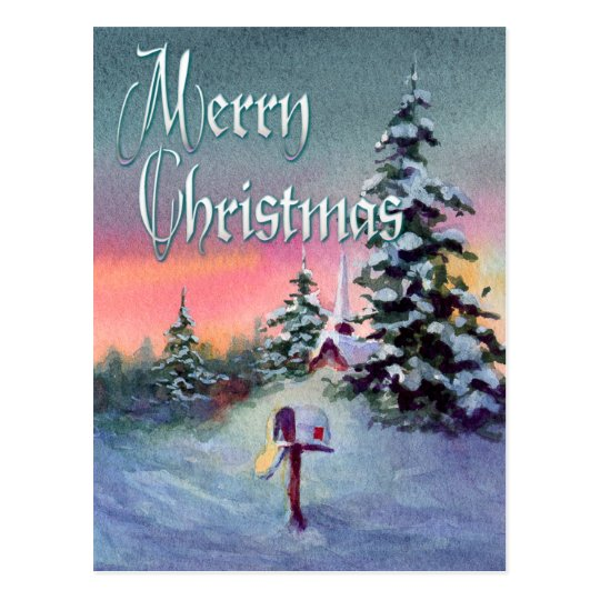 CHRISTMAS MAILBOX by SHARON SHARPE Postcard