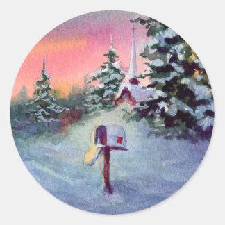 CHRISTMAS MAILBOX by SHARON SHARPE Round Sticker