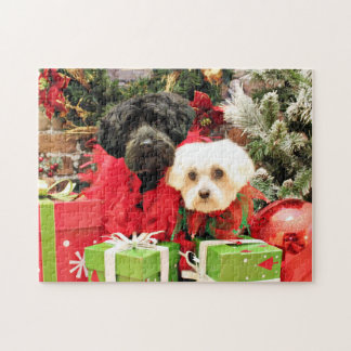 Christmas - Maltese - Annie and YorkiePoo - Hannah Jigsaw Puzzle