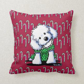 Christmas Maltese Girl Throw Pillow
