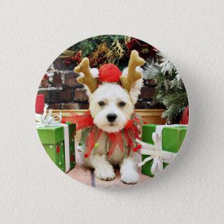 Christmas - Maltese X - Mugsy 2 Inch Round Button