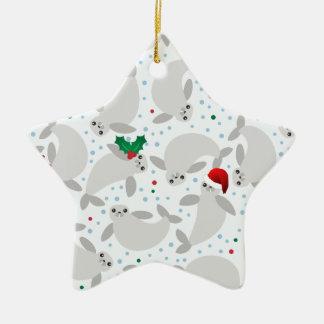 christmas manatee ceramic ornament
