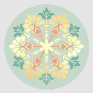 Christmas Mandala Mint, Gold and Coral Classic Round Sticker