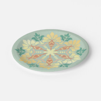 Christmas Mandala Mint, Gold and Coral Paper Plate