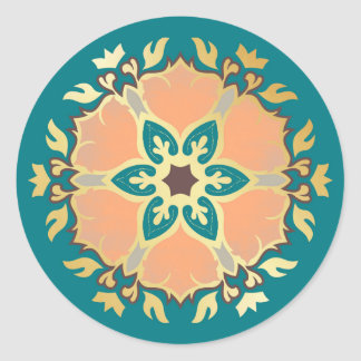 Christmas Mandala Teal, Gold and Apricot Classic Round Sticker