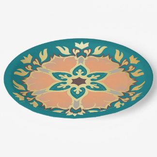 Christmas Mandala Teal, Gold and Apricot Paper Plate