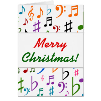 Christmas; Many Colorful Music Notes and Symbols