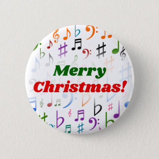 Christmas; Many Colorful Music Notes and Symbols 2 Inch Round Button