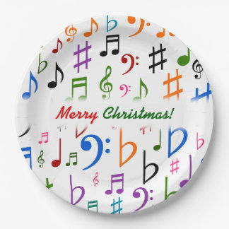 Christmas; Many Colorful Music Notes and Symbols Paper Plate