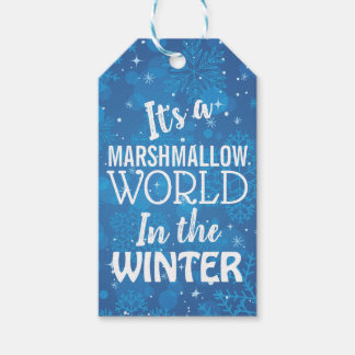 Christmas Marshmallow World Blue Gift Tags