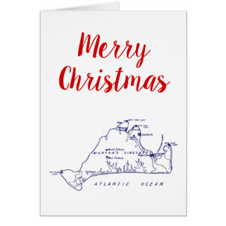 Christmas Martha's Vineyard Map #1 Navy Blue Card