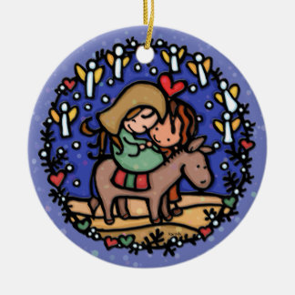 Christmas Mary Joseph Angels Rejoicing BLUE Round Ceramic Ornament