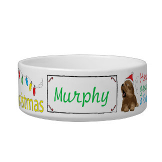 "Christmas Medium DOG Pet Bowl ""Furry Christmas"""