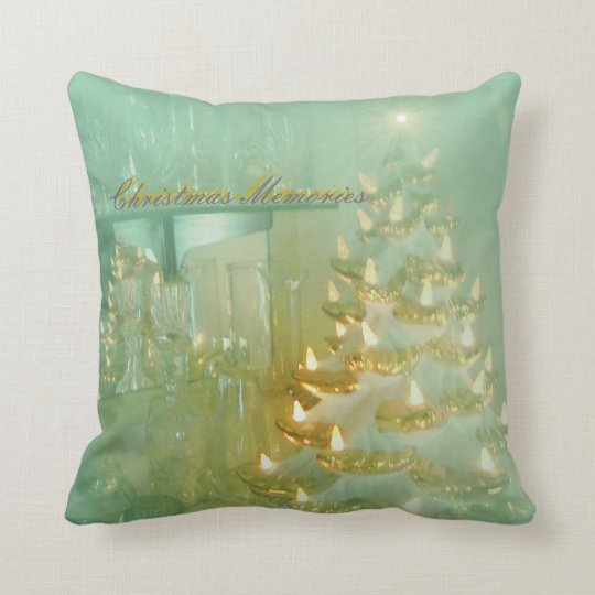Christmas Memories Pillow in a light aqua turquois