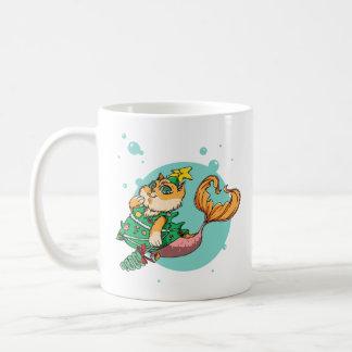 Christmas Mermaid Cat Coffee Mug