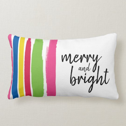Christmas, Merry and Bright, Colourful, Strokes Lumbar Pillow