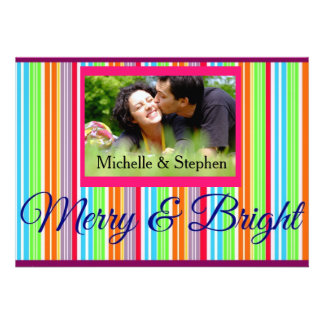 Christmas Merry and Bright Greetings Photo Card