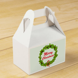 Christmas, Merry Christmas wreath. Personalize Favor Box