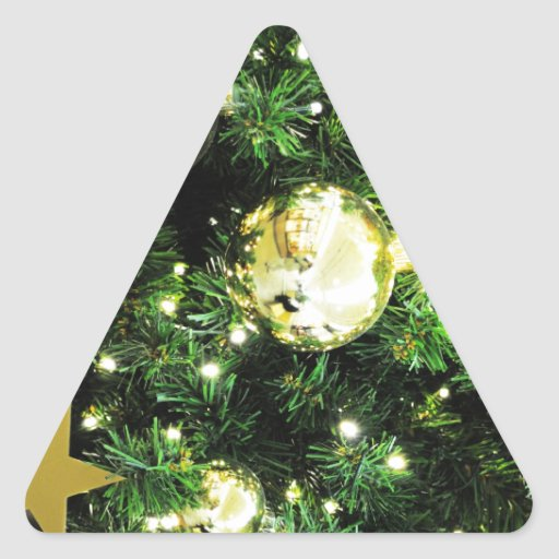 Christmas Merry Holiday Tree Ornaments celebration Triangle Stickers