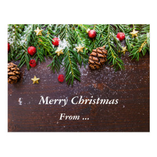 CHRISTMAS MESSAGE | needles,stars,snow and berries Postcard