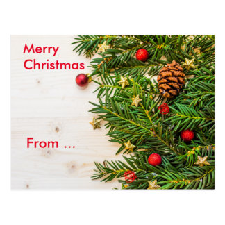 CHRISTMAS MESSAGE | stars,cone,baubles and needles Postcard