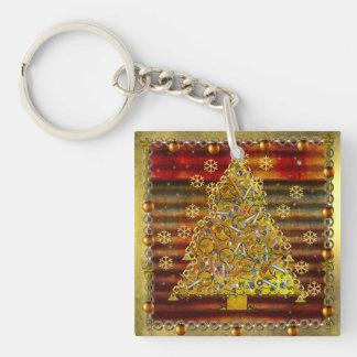 Christmas Metal Tree Square Acrylic Key Chains