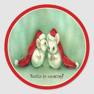 Christmas Mice with Red Santa Hats Sticker