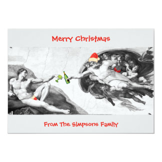 Christmas Michelangelo Funny Invitation Card