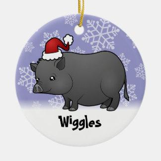 Christmas Miniature Pig Ceramic Ornament