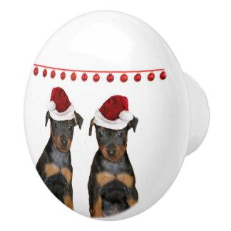 Christmas Miniature Pinscher puppies Ceramic Knob