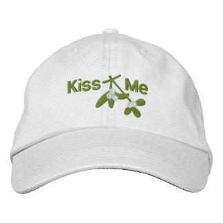 Christmas Mistletoe Kiss Me Embroidered Hat