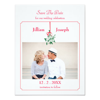 Christmas Mistletoe Photo Save The Date Card