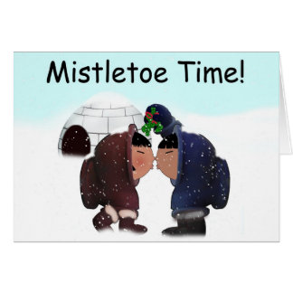 Christmas Mistletoe Time Card