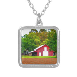 christmas mom barn pic.jpg silver plated necklace