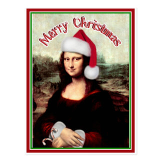 Christmas Mona Lisa With Santa Hat Postcard