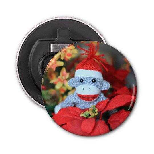 Christmas Monkey Button Bottle Opener