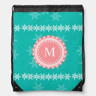 Christmas Monogram Drawstring Backpack Giftbag