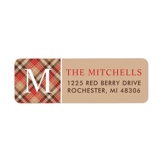 Christmas Monogram | Plaid Holiday Return Address Label