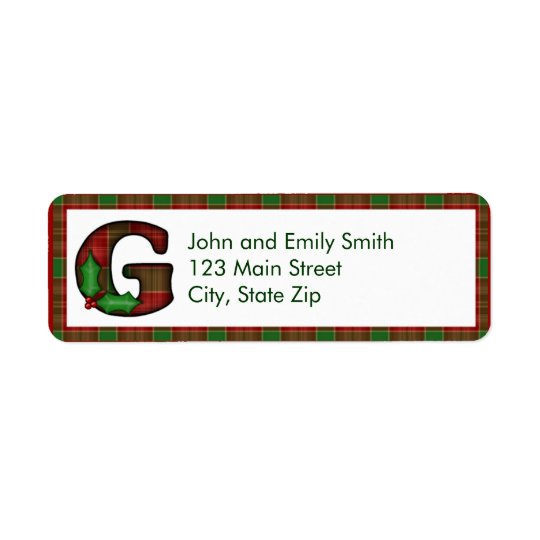 Christmas Monogram Return Address Labels