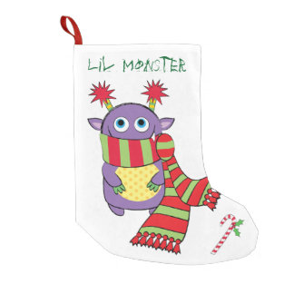 Christmas Monster with Gift Small Christmas Stocking