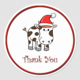 Christmas Moo Cow Thank You Sticker