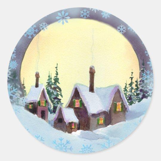 CHRISTMAS MOON by SHARON SHARPE Classic Round Sticker