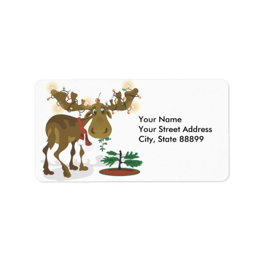 Christmas Moose Adress Labels/ Gift Labels