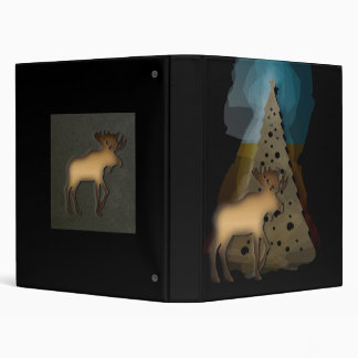 Christmas Moose Design by Leslie Harlow 3 Ring Binder