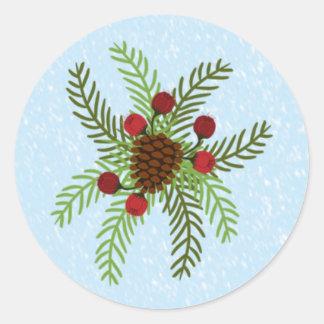 Christmas Moose Envelope Seal Round Sticker