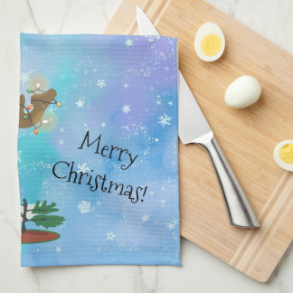 Christmas Moose Kitchen Towel