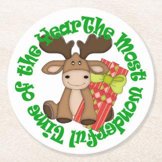 Christmas Moose Round Paper Coaster